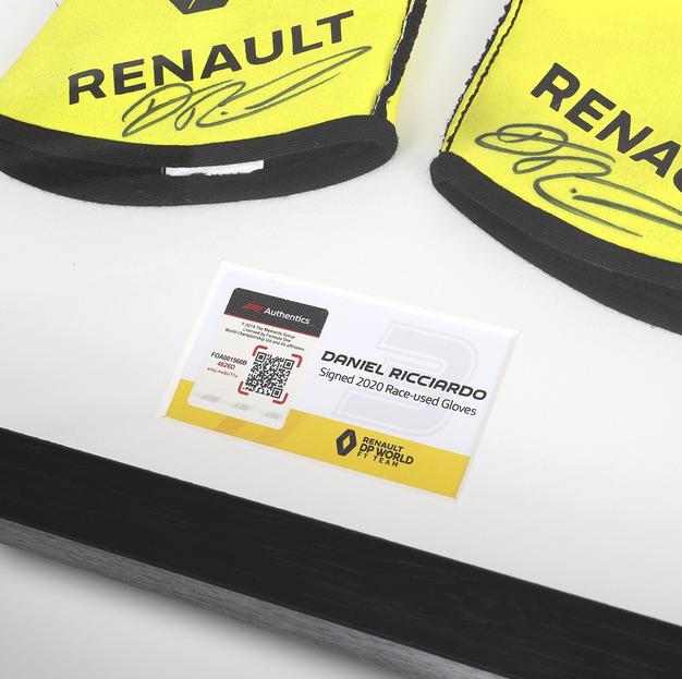 Daniel Ricciardo framed race-worn gloves